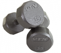 12 Sided Solid Gray Dumbbells - 8lbs